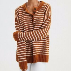 American Eagle Henley Striped Knit Sweater